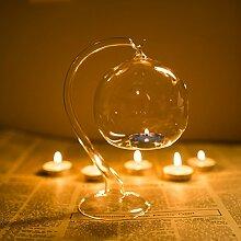 Kicode Hängende romantische Hochzeit Dekor transparent Glasrohr Kugel Kerzenhalter Leuchter Leichter Esstisch