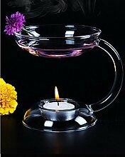 Kicode Lichthalter Aroma Leuchter Doppelschicht Ölwärmer Kerzenhalter aus Glas Mit Griff Tischdekoration
