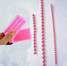 Kicode Perlenschnur Perlen Form Silikonform Kuchenverzierung Fondant Backformen Süßigkeit-Gebäck-kleine Größen-Werkzeuge DIY