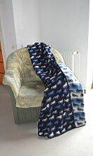 KIDKA 033 Tagesdecke Islandpferde Blau - Wolldecke, Plaid Islandwolle, 185 x 130 cm