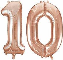 Kids Party World Folien Ballon Zahl 10 in Rosegold