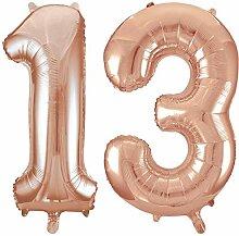 Kids Party World Folien Ballon Zahl 13 in Rosegold