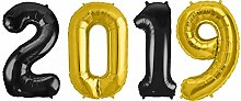 Kids Party World Folien Ballon Zahl 2019 in Gold &