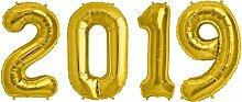Kids Party World Folien Ballon Zahl 2019 in Gold -
