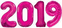 Kids Party World Folien Ballon Zahl 2019 in Pink -