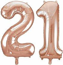 Kids Party World Folien Ballon Zahl 21 in Rosegold