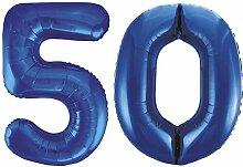 Kids Party World Folien Ballon Zahl 50 in Blau -