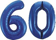 Kids Party World Folien Ballon Zahl 60 in Blau -