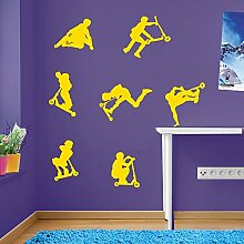 Kids Stunt-Scooter, jumps, sprünge, Tricks, Wand-Dekoration Aufkleber Wandtattoo Wandsticker Wandbild Wandsticker Aufkleber Wandtattoo Wandsticker Wandbild Décor Deco Abnehmbare Diy Wandsticker bunte Aufkleber, Vinyl, 09 - Yellow, Large Se