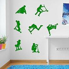Kids Stunt-Scooter, jumps, sprünge, Tricks, Wand-Dekoration Aufkleber Wandtattoo Wandsticker Wandbild Wandsticker Aufkleber Wandtattoo Wandsticker Wandbild Décor Deco Abnehmbare Diy Wandsticker bunte Aufkleber, Vinyl, 11 - Green, Small Se