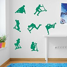 Kids Stunt Scooters, jumps, Tricks, Wall Decorations Window Stickers Wall Decor Wall Stickers Wall Art Wall Decals Stickers Wall Decal Decals Mural Décor Diy Deco Removable Wall Decals Colorful Stickers by Vinyl Concep