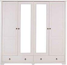 Kiefer Kleiderschrank in Weiß Spiegeltüren
