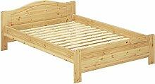 Kieferbett natur Doppelbett 140x200 Futonbett Bett breit Massivholzbett Rollrost 60.37-14