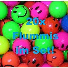 KIG 20x Bunte Flummis Smiley Gummiball Hüpfball