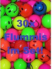 KIG 30x Bunte Flummis Smiley Gummiball Hüpfball
