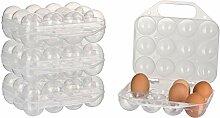 Kigima Eierbox für 12 Eier 4er Set transparent