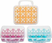 Kigima Eierbox für 12 Eier transparent mit farbigen Inneneinsatz & Tragegriff 3er Se