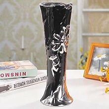 KIKIXI Höhe 33 Cm Breite 12 Cm Europäischen Einfache Keramische Kunsthandwerk Heimtextilien Neue Silber Schmuck Große Vase Ornamente, Schwarz
