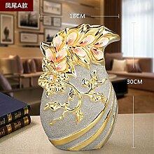 KIKIXI Yuhang Keramik dekorative Blumen Blume Vase Heimtextilien European Gold Schmuck Handwerk Frosted TV-Schrank, EIN