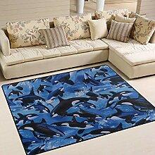 Killerwale Orcas Ocean Sea Area Teppich 4 'x
