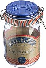Kilner 1 Liter Glas Bügelverschluss mit blauem