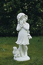 Kind mit Küken, Steinfigur, Gartenfigur Farbe antikfinish
