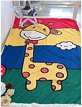 Kinder 2 Schicht Dick Lamm Flaum Wohndecke Kolster Deckbett Erwachsene Büro Wolldecke (150 x 200 cm, Giraffe)