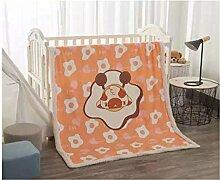 Kinder 2 Schicht Dick Lamm Flaum Wohndecke Kolster Deckbett Erwachsene Büro Wolldecke 1.2*1.5 M (Spiegelei)