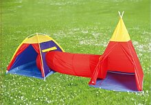 Kinder Abenteuer-Zelt, Set 3-teilig Kind Zelt Camping Tippi Hüpfburg Spielzelt Garten