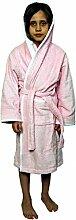 Kinder-Bademantel mit Kapuze, in Rosa mit weißem