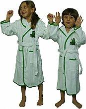 Kinder Bademantel mit Kapuze mit Frosch Motiv von