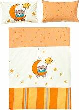 Kinder-Bettwäsche Biber orange-gelb-natur Größe