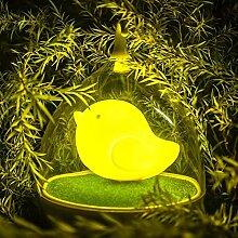 Kinder Birdcage LED-Nachtlicht Hand Design-Touch-Sensor-Vibration Vogelkäfig-Lampe Vogel Night Lights Außenleuchte - Lade - für Kinder, Baby, Valentines Geschenk, Weihnachtsgeschenk, Halloween-Geschenk(gelb)