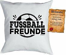 Kinder/Deko-Kissen inkl. Spaß-Urkunde Thema Sport: Fussball Freunde - Geschenkidee
