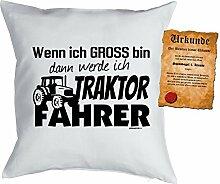 Kinder/Deko-Kissen inkl. Spaß-Urkunde Thema Traumberufe: Wenn ich gross bin dann werde ich Traktor Fahrer - Geschenkidee
