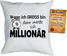 Kinder/Deko-Kissen inkl. Spaß-Urkunde Thema Traumberufe: Wenn ich gross bin dann werde ich Millionär - Geschenkidee