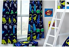 Kinder Dino in der Dunkelheit Bettwäsche und Möbel Sammlung Kinderzimmer Kindergarten Spielzimmer - Curtain Pair 66x54