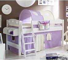 Kinder Einzelbett in Weiß Kiefer massiv Turm und