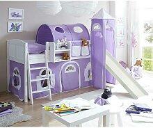 Kinder Einzelbett in Weiß und Lila Kiefer