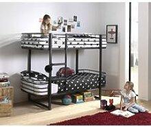 Kinder- Etagenbett Metall OSAKA-12 schwarz -