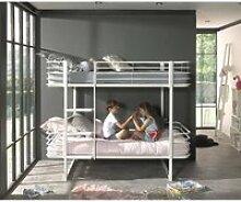 Kinder- Etagenbett Metall OSAKA-12 weiß - B/H/T: