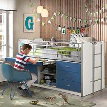 Kinder-Etagenbett mit Schreibtisch Stauraum