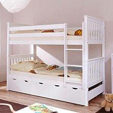 Kinder Etagenbett mit Schubladen Weiß Kiefer