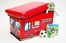 Kinder Feuerwehrauto Jungen Spielzeug Aufbewahrungsschachtel Sitz Hocker Bücher Truhe Box
