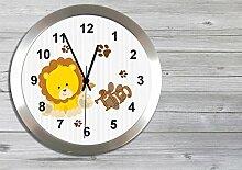 Kinder Funkuhr Wanduhr Kinderuhr Kinderzimmer Uhr mit Namen personalisiert leise Löwe