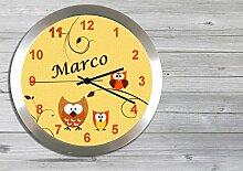 Kinder Funkuhr Wanduhr Kinderuhr Kinderzimmer Uhr mit Namen personalisiert leise Eule