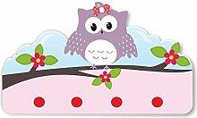Kinder Garderobe Kinderzimmer mit Namen Happy Eule flieder