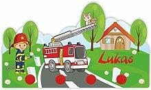 Kinder Garderobe mit Namen und Wunschmotiv aus Kunststoff (Motiv Feuerwehr)