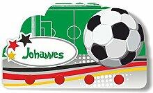 Kinder Garderobe mit Namen und Wunschmotiv aus Kunststoff (Motiv Fußball)