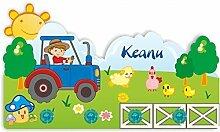 Kinder Garderobe mit Namen und Wunschmotiv aus Kunststoff (Motiv Traktor)
